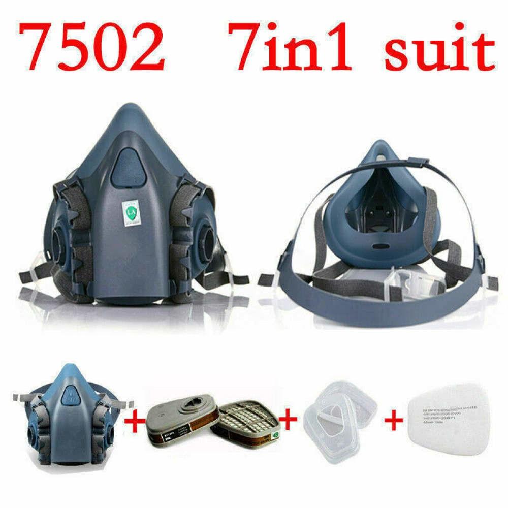 7合1套裝3M 7502防毒面具噴漆防護口罩跌落運輸