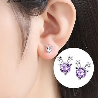 💕個性💕韓風💕創意小清新鑲鑽聖誕耳飾 鍍925純銀小糜鹿耳釘💕批發💕