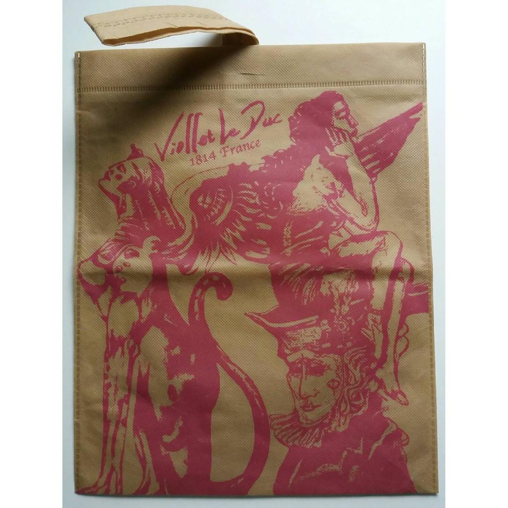 限量 MACANNA 麥坎納 古典 繪畫 繪圖 設計 卡其色 桃紅色 工筆畫 圖版 圖案 手提袋 環保袋 購物袋 鞋袋