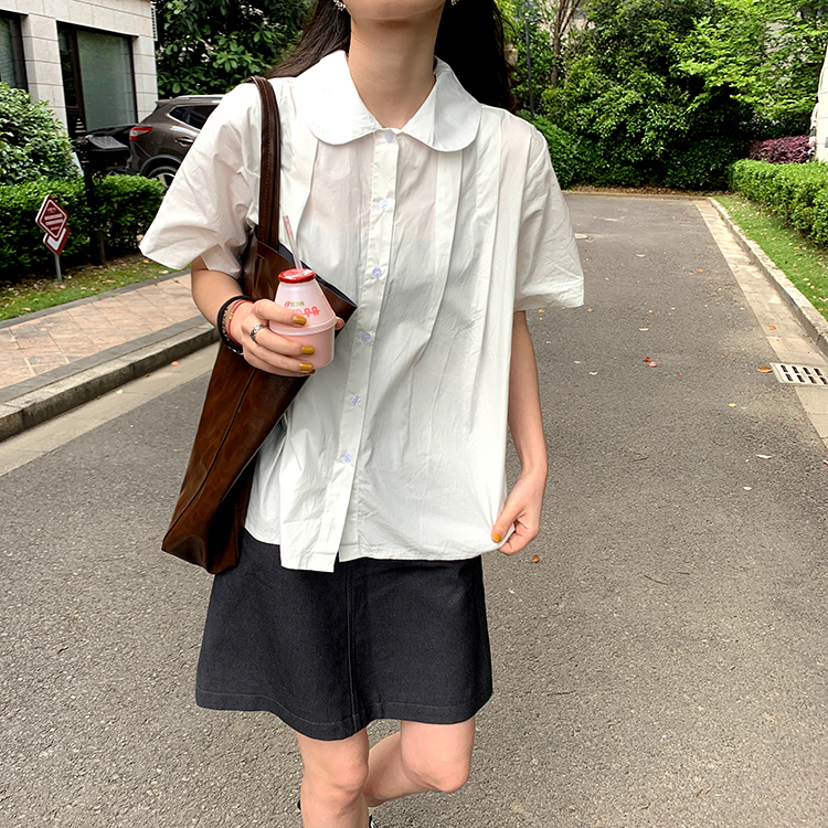 42688娃娃領寬鬆短袖襯衫上衣
