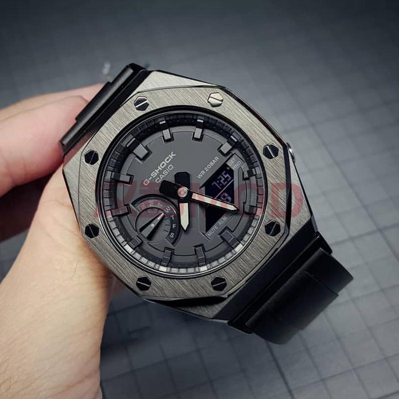 新館上新★ga2100改裝件二代純黑色錶殼卡西歐農家橡樹改裝表帶轉接 漢智mod