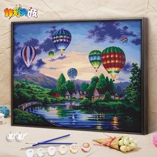 佳彩天顏 數字油畫diy油彩畫減壓手工涂色手繪填色裝飾畫放飛夢想