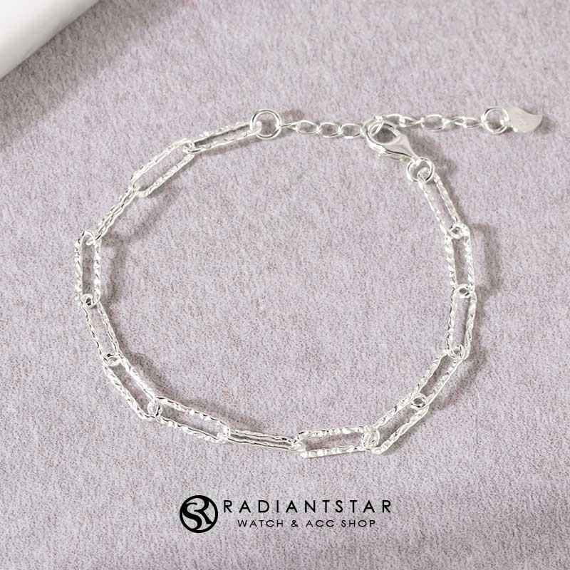 緊握的幸福敲打紋路鎖鏈銀925純銀手鍊【SL723】璀璨之星