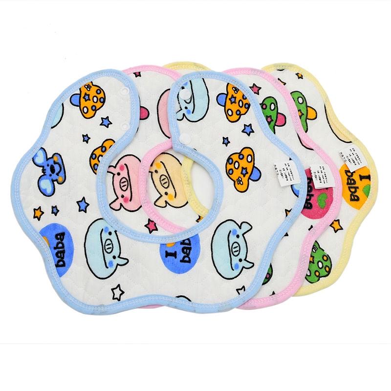 口水巾純棉嬰兒防水圍嘴圍兜吃飯360度可旋轉秋冬新生寶寶防吐奶【快樂寶貝】