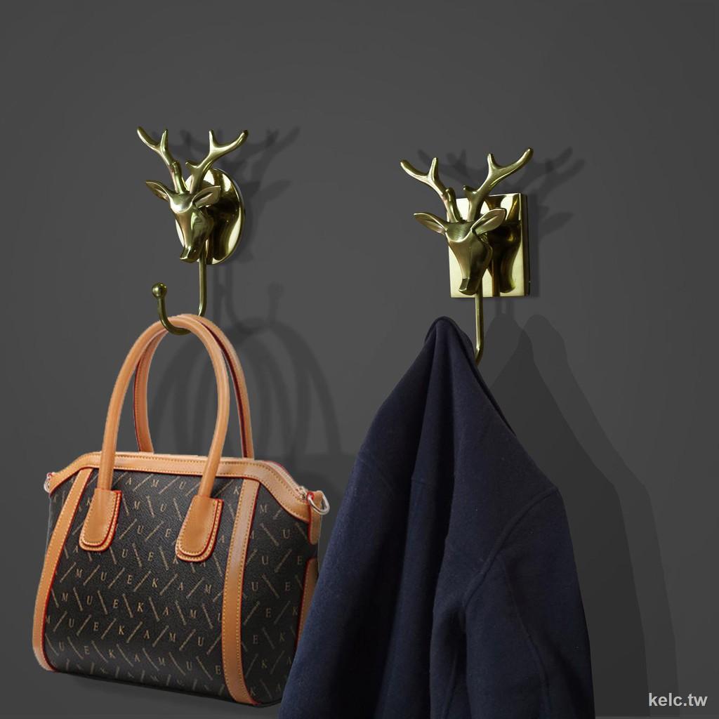 ✇北歐輕奢鹿頭裝飾純銅掛鉤的創意玄關藝術浴室墻壁粘鉤免打孔掛勾