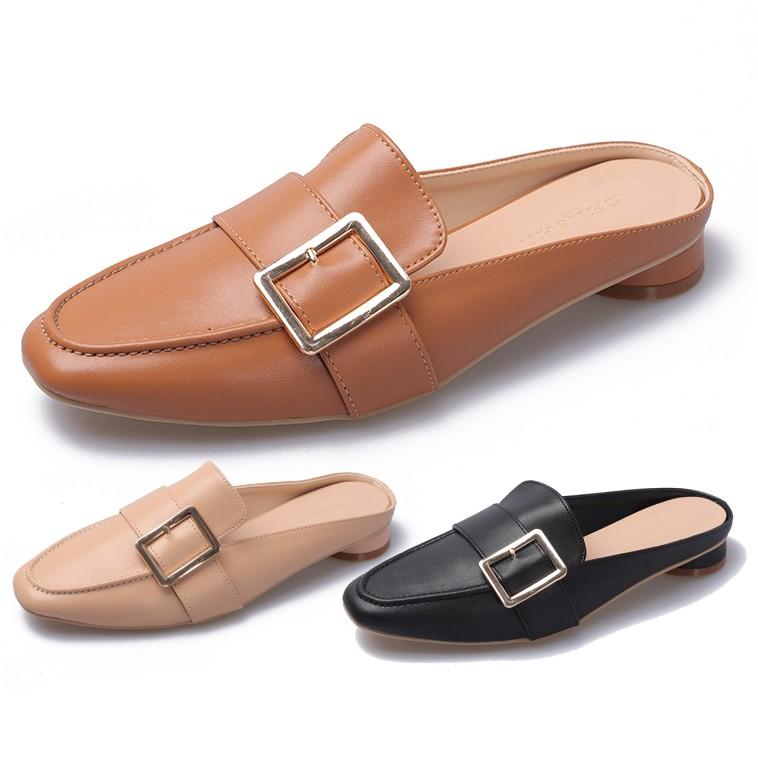 【白鳥麗子】穆勒鞋 MIT氣質一字釦樂福方頭圓弧低跟拖鞋