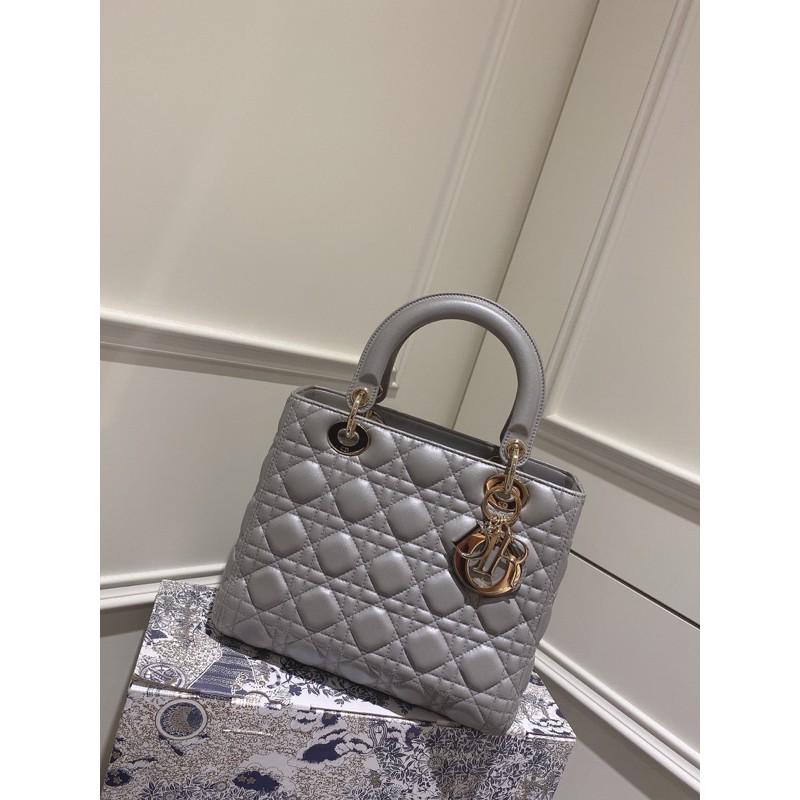 Dior 經典珠光灰優雅氣質黛妃包 (正品)