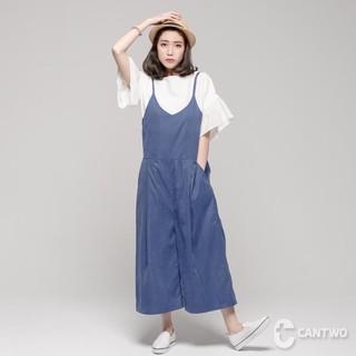二手Cantwo專櫃藍色吊帶寬褲(同款同色) 臺北市