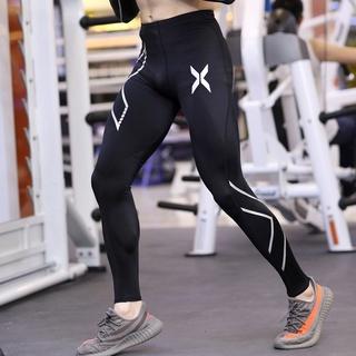 ♂【潮狼】 男生衣著 2XU運動長褲男健身教練黑色緊身快乾褲修身彈力跑步專業訓練吸濕排汗薄大碼壓縮褲