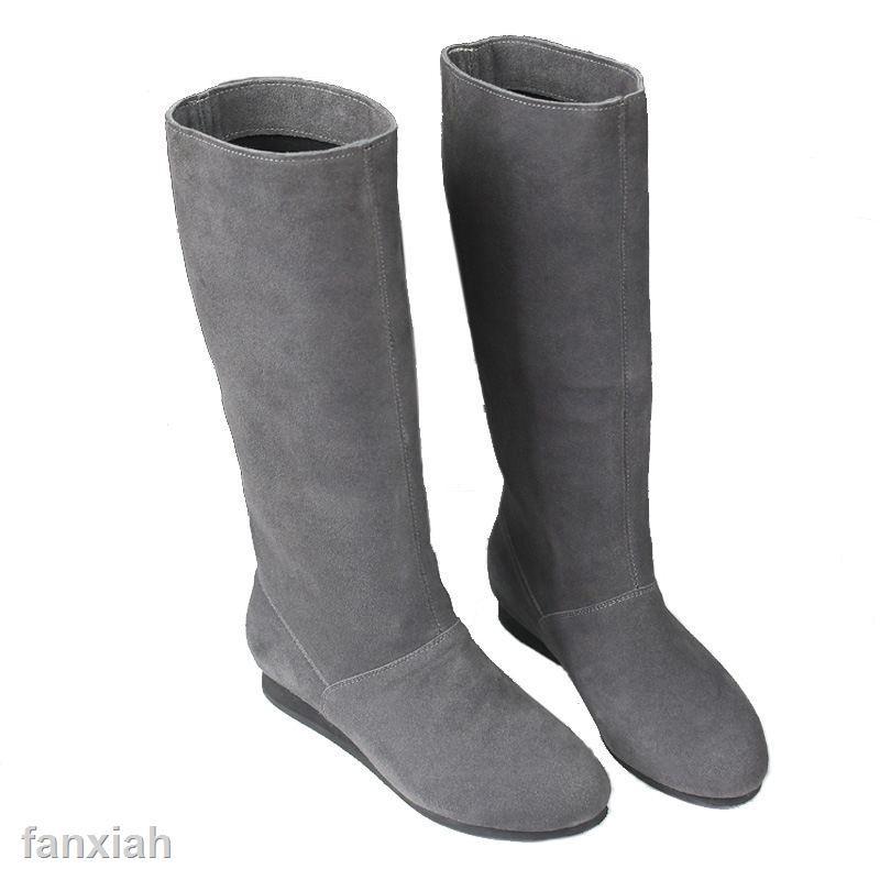 現貨熱賣秋冬中長靴子灰色長靴平底長筒靴真皮平跟女靴磨砂皮中筒靴半靴女