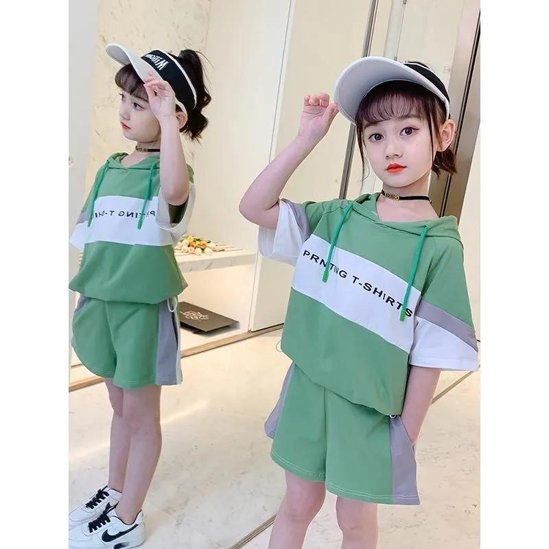 現貨童裝 女童裝 套装 2021 新款 夏装 兒童裝 洋气 網紅 夏季 运动 時尚时髦 t恤 两件套潮