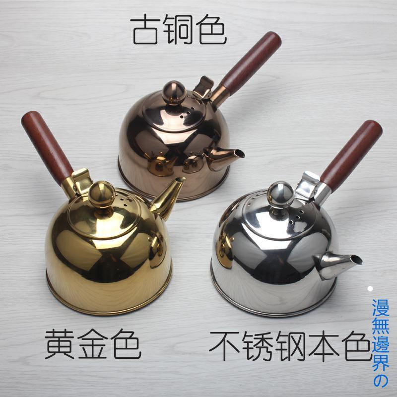 304不鏽鋼燒水壺平底煮水壺側把壺野外煮水壺功夫茶道電磁壺🍀漫無邊界の