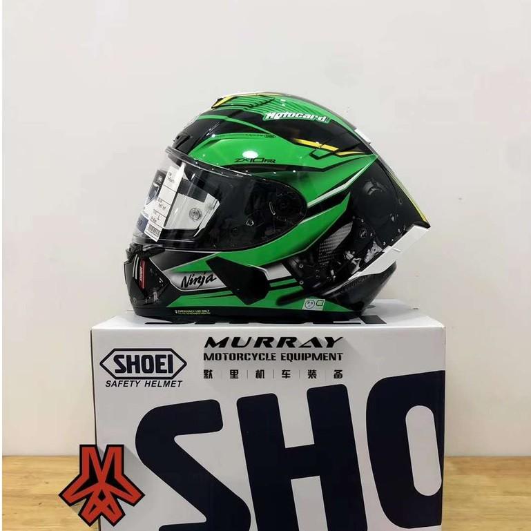 SHOEI安全帽 X14 川崎ZX-10Rr綠色全罩安全帽 機車騎士摩托車賽車安全頭盔 四季男女款透氣防霧頭盔【默裡】