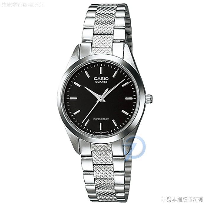 【CASIO】卡西歐石英鋼帶女錶-黑色 # LTP-1274D-1A (原廠公司貨全配盒裝)