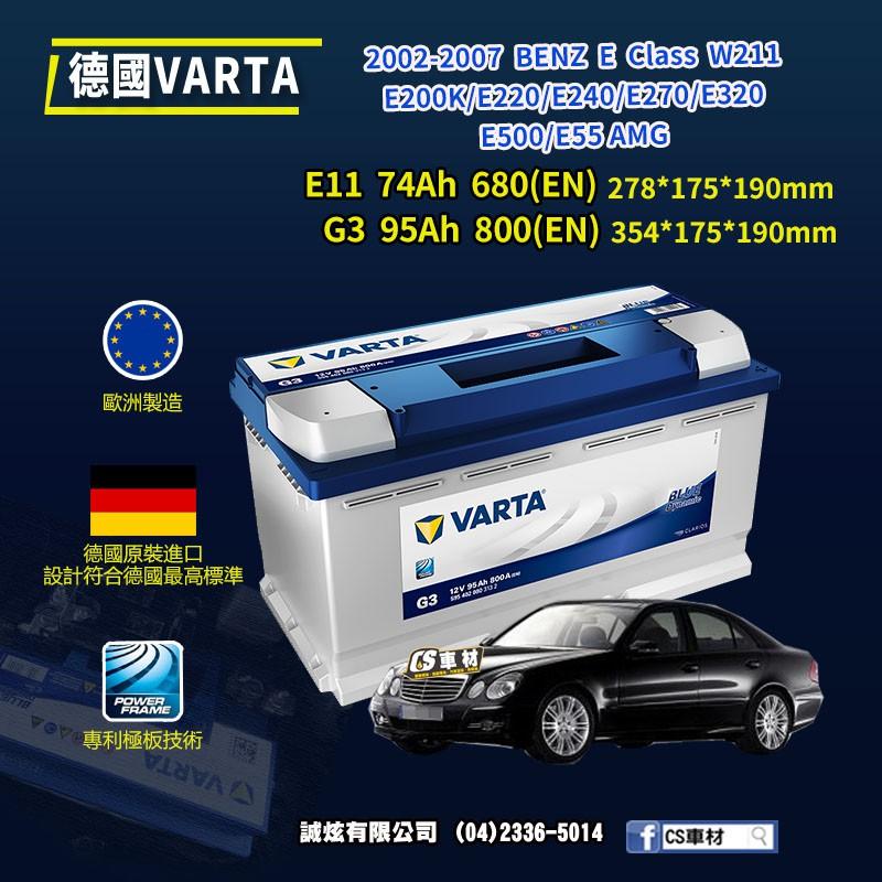 CS車材-VARTA 華達電池 BENZ E CLASS W211 02-13年 非韓製 代客安裝