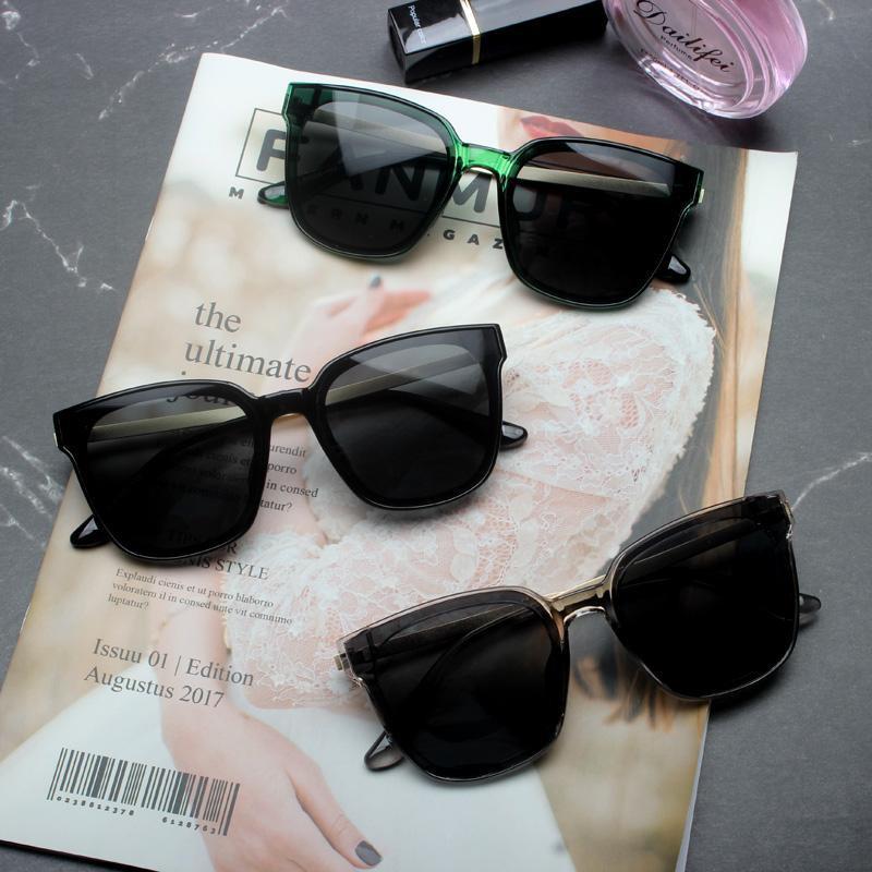 韓國林允兒同款方形墨鏡超黑平面鏡片太陽鏡男女圓臉時尚太陽鏡潮