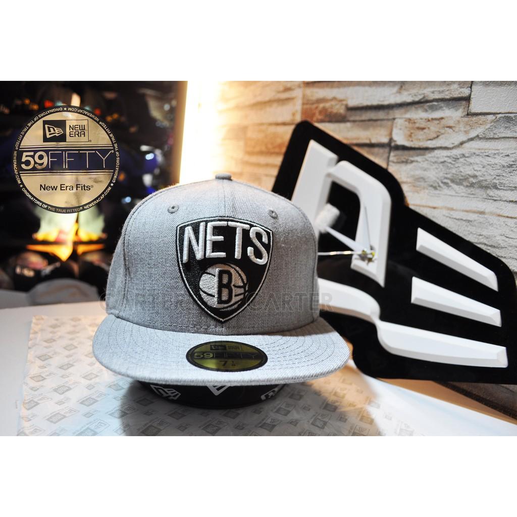 check out 51da6 b74a8 特價New Era NBA BRKLYN Nets Heather Grey 59Fifty 美國職籃布魯克林麻灰全封帽  蝦皮購物