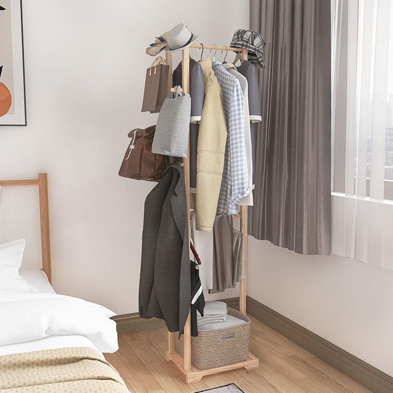 簡易立式掛衣架全實木衣帽架臥室落地掛衣服掛包現代簡約置物架子布布生活館