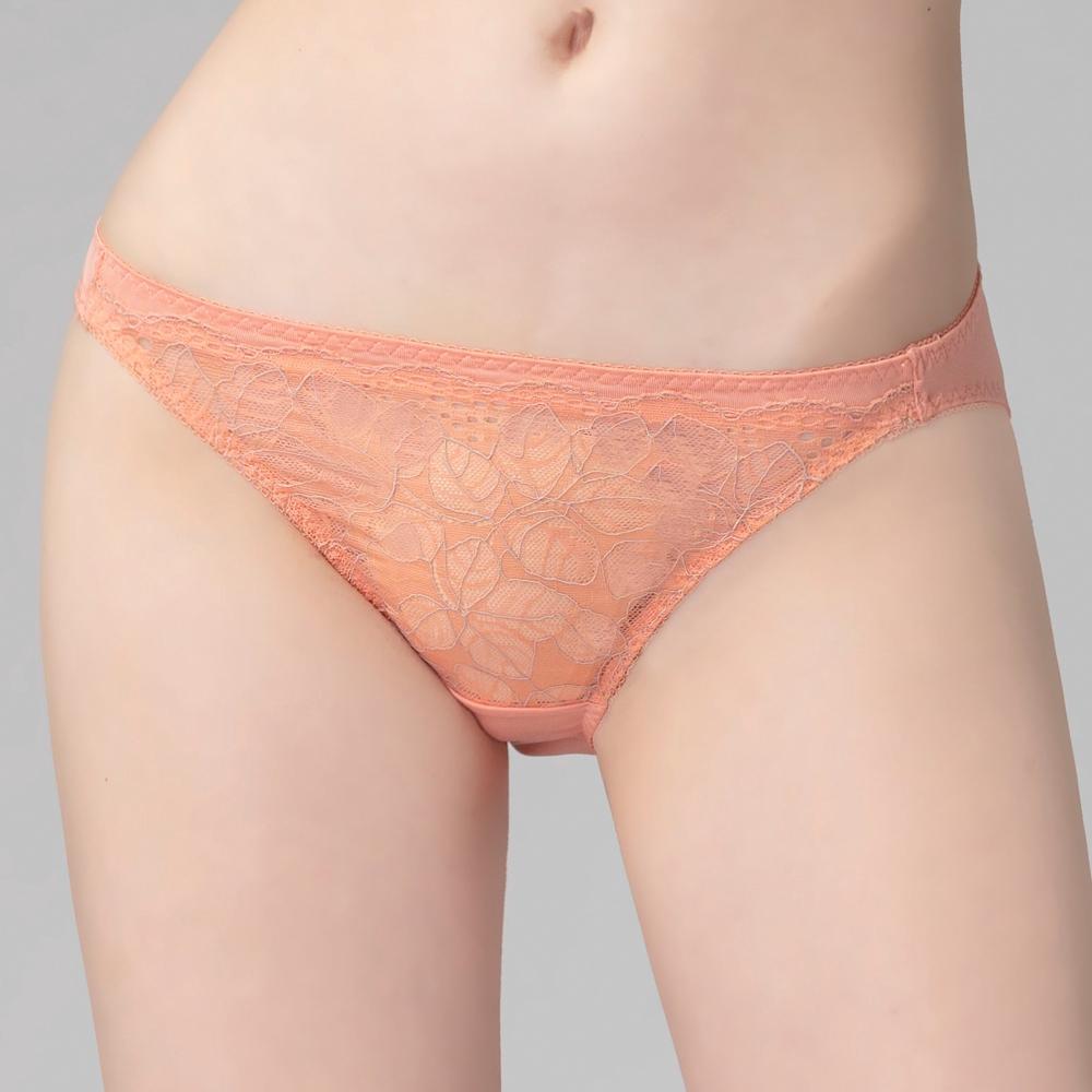 SWEAR 思薇爾 舞漾悸動系列M-XL蕾絲低腰三角內褲(櫻鱒橘)