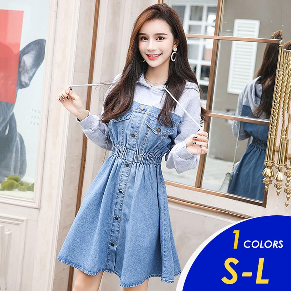 【現貨】 韓系甜美感灰色連帽長袖收腰牛仔連身裙4211 S-XL【俏可】