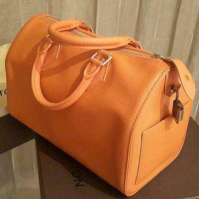 100%專櫃正品 Louis Vuitton SPEEDY 25S EPI 橘色水波紋手提包(有附盒子)