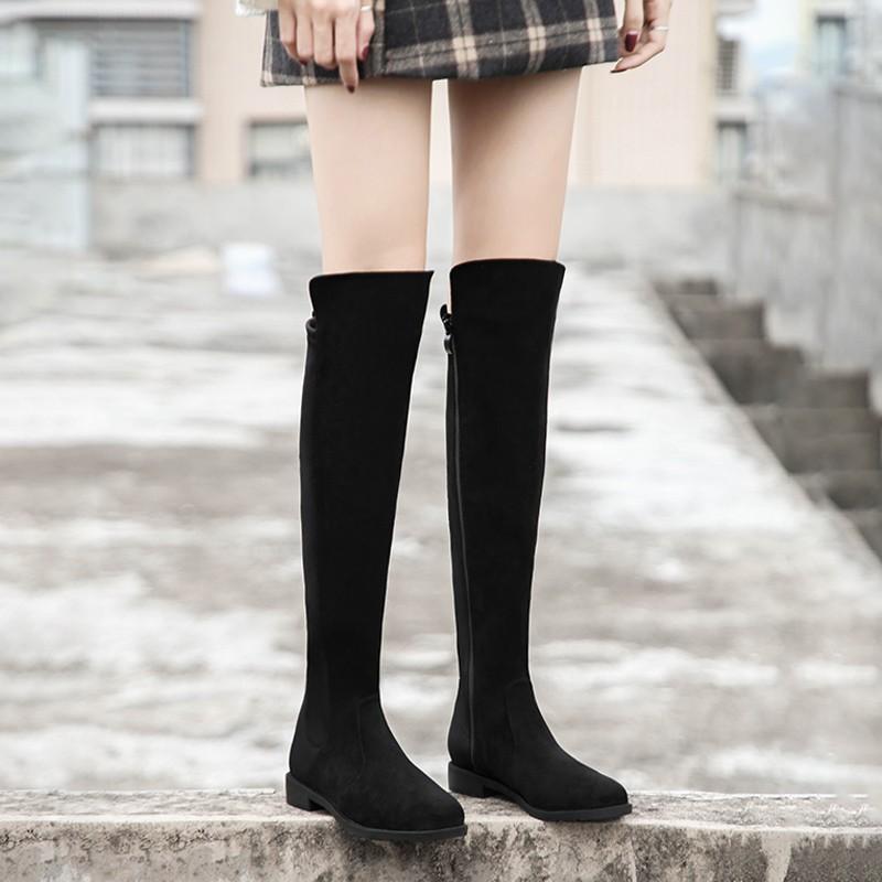 過膝長靴女冬加絨瘦瘦靴彈力過膝靴高筒長筒靴sw靴子不掉筒5050