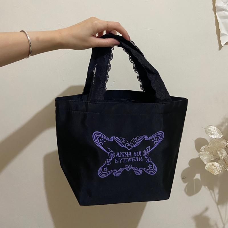 anna sui提袋/便當袋/小提袋/黑色蕾絲提袋/全新