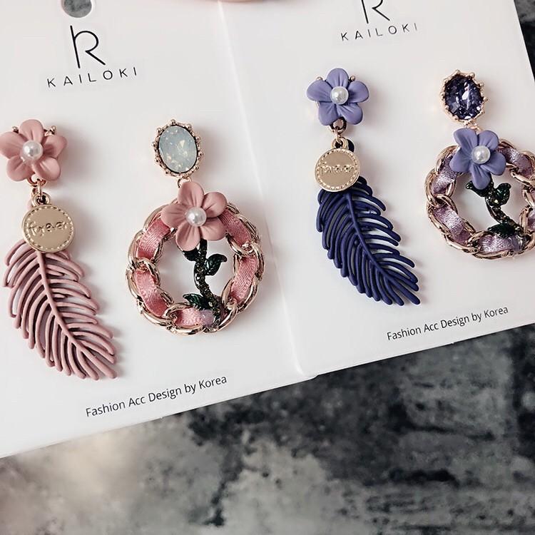 [MUSI創意玩星球] 韓國花朵手作飾品質感精緻寶石耳釘耳環華麗造型設計款耳環