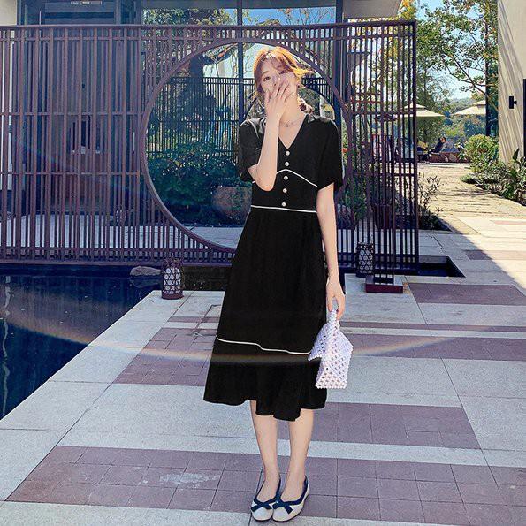 洋裝 連身裙S-2XL實拍 法式復古V領收腰顯瘦連衣裙短袖赫本風氣質長款過膝.H325.9271胖胖美依