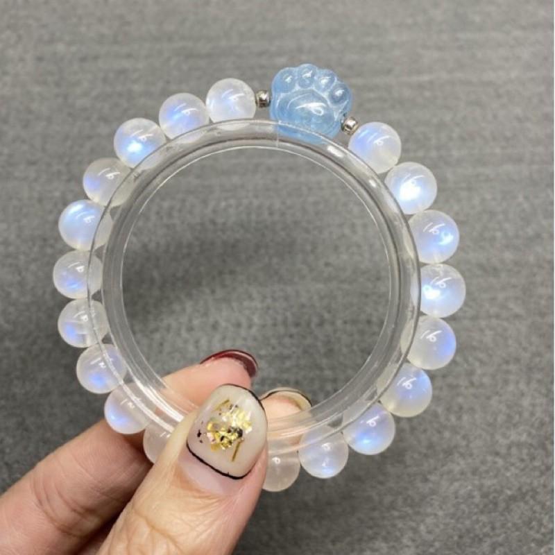 精品月光石手珠 海藍寶 海藍寶石 貓爪 貓咪 全藍光 奶油體月光石 10mm 顆顆有光 天然水晶 小眾收藏 貓奴必備