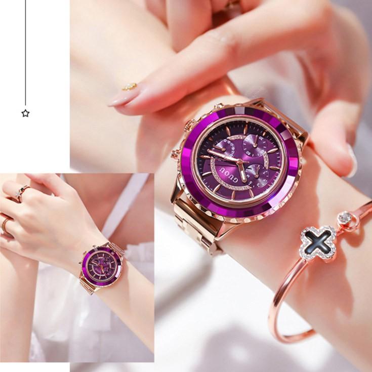【配手鍊】GUOU手錶女個性三眼時尚ins風鋼帶石英女錶簡約手錶