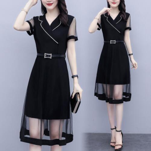 洋裝 拼接 裙子 短袖 中大尺碼 L-5XL大碼顯瘦法式減齡連身裙小黑裙R025B-7098.胖胖美依