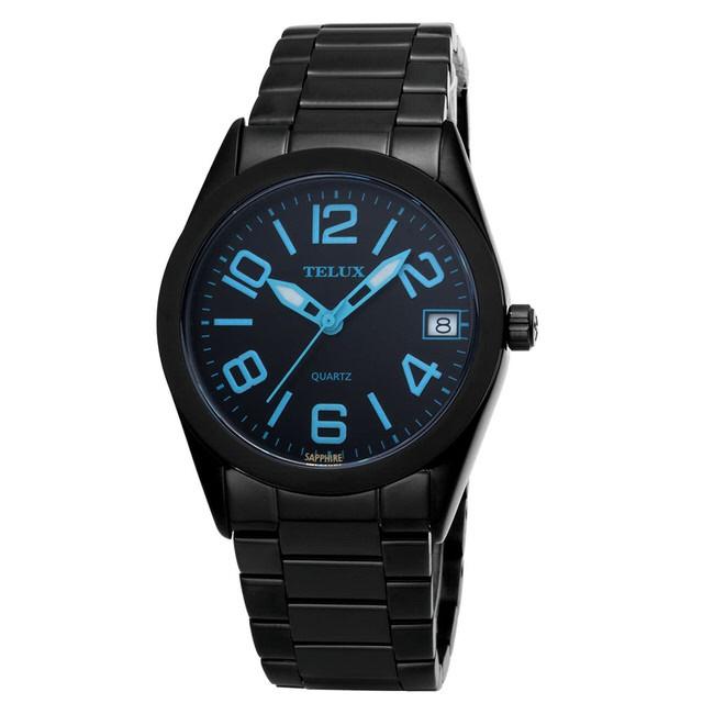 台灣品牌手錶腕錶【TELUX鐵力士】暮光系列女腕錶手錶34MM台灣製造石英錶7002LBK-BK24黑鋼帶黑面藍數字
