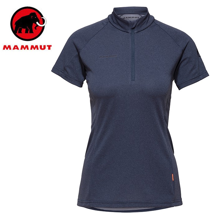 【Mammut 長毛象 瑞士】Aegility 立領短袖排汗衣 運動上衣 女款 海洋藍 (01800-5784)