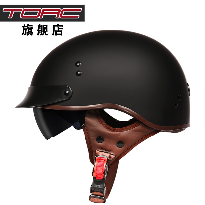 【現貨熱賣】TORC復古機車頭盔男女士摩托車半盔覆式夏季電動車輕便安全帽瓢盔
