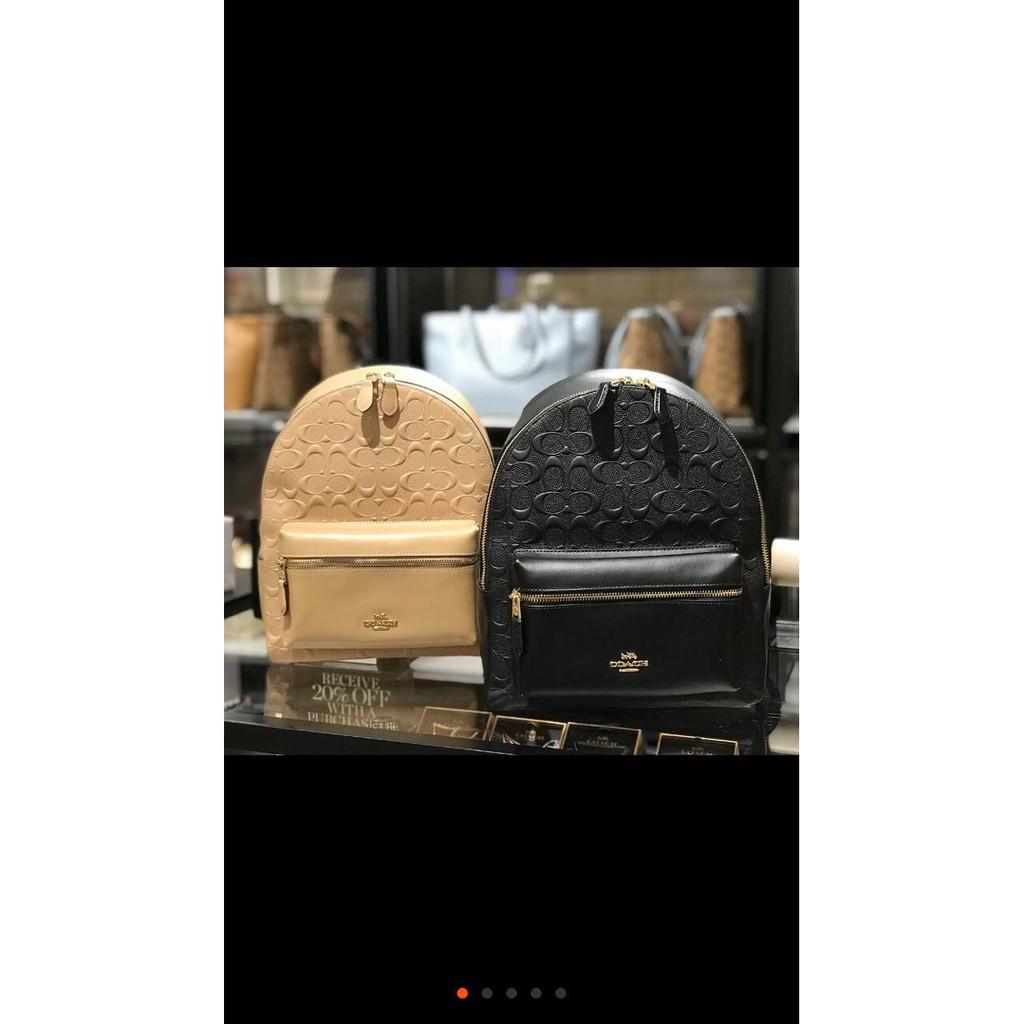 實拍COACH 32083新款浮雕牛皮中號雙肩包 後背包 潮流時尚兼實用 簡單大方 附購証