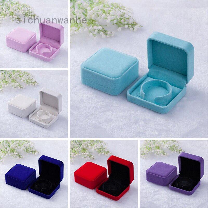 四川萬內方形天鵝絨手鍊盒優雅手鐲戒指項鍊首飾盒 10 色珠寶包裝禮物