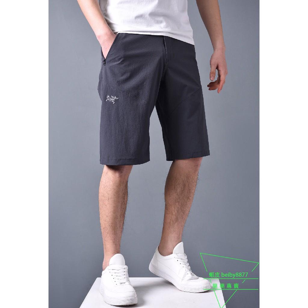 ARCTERYX 始祖鳥 Gamma LT Pants 夏季男子刺繡輕薄彈力速乾短褲 戶外徒步透氣五分褲 工作商務短褲