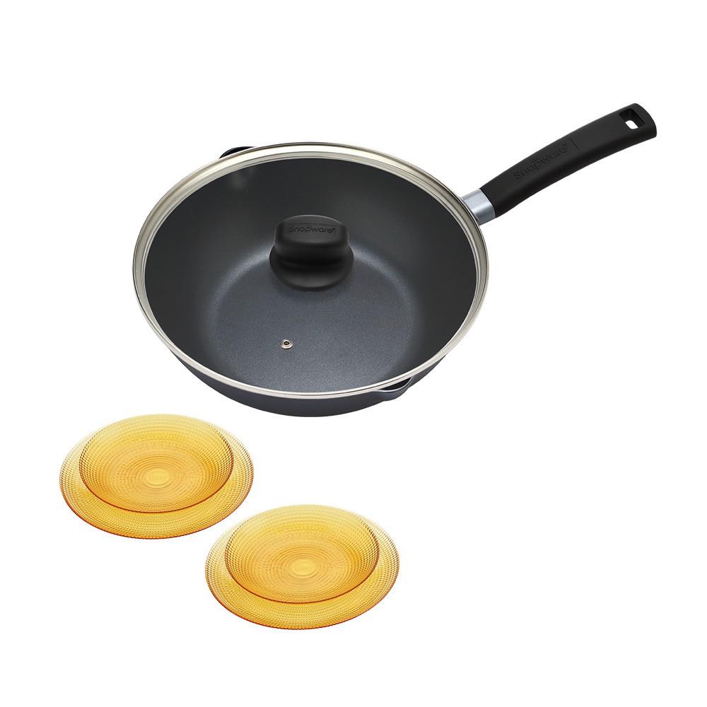 Snapware康寧 藍寶石 臻釜鑄造不沾深炒鍋30cm 加贈 康寧晶彩琥珀4件餐盤組