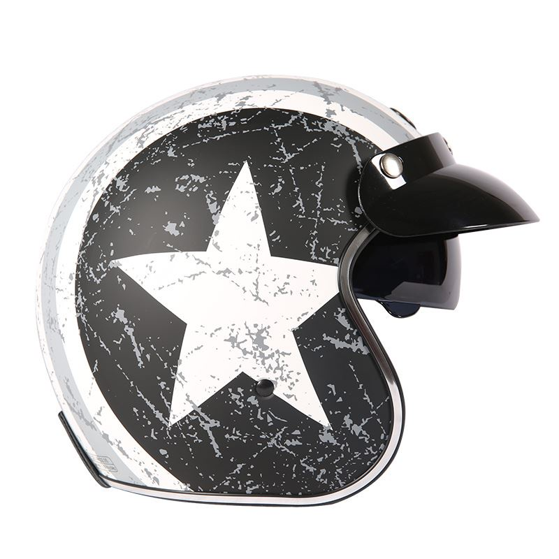 TORC機車復古半盔男女夏季哈雷頭盔電動車安全帽3C認證防曬頭灰A828
