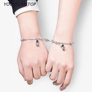 Youyo 2 Pcs 宇航員情侶手鍊關係距離相互吸引力匹配磁性可調手鍊手工編織彈性繩,  配以星星拾音器吊墜