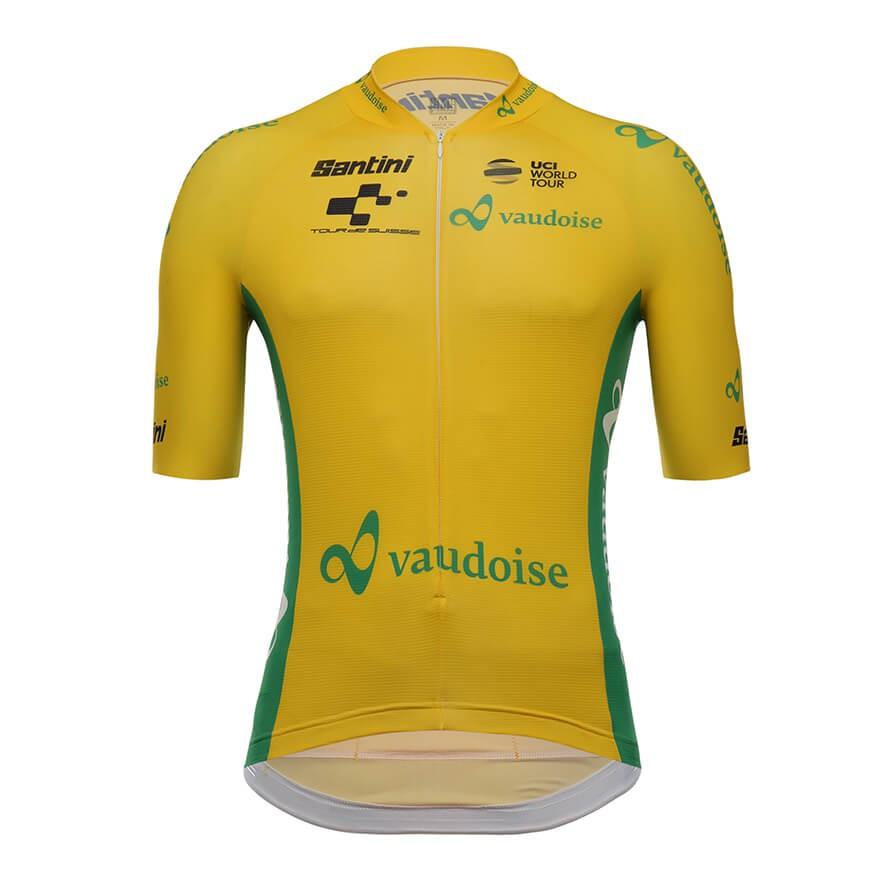 Vaudoise Santini SMS 騎行服山地自行車戶外黃色速乾公路騎行短袖上衣