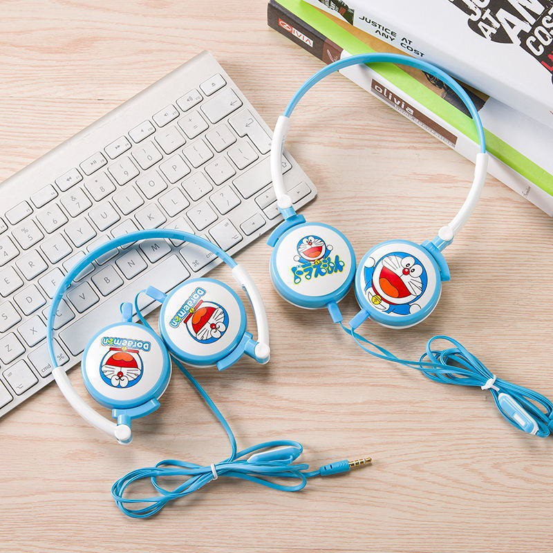 哆啦A夢頭戴式大耳機卡通萌萌可愛通用韓版男生少女心糖果色女生