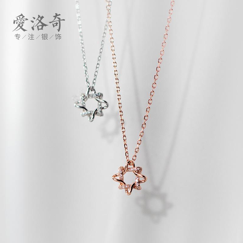 s925银韩版简约镶钻八芒星吊坠项链女小众镂空锁骨链D6688
