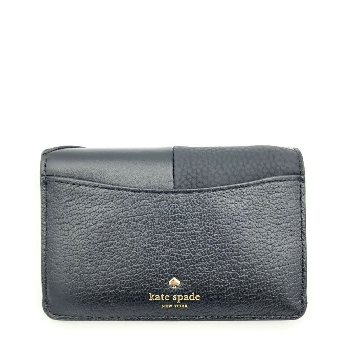 kate spade 鑰匙零錢包 卡片夾 混搭真皮皮革 WLRU5036 信用卡夾 零錢包 K37857 黑色 廠商直送