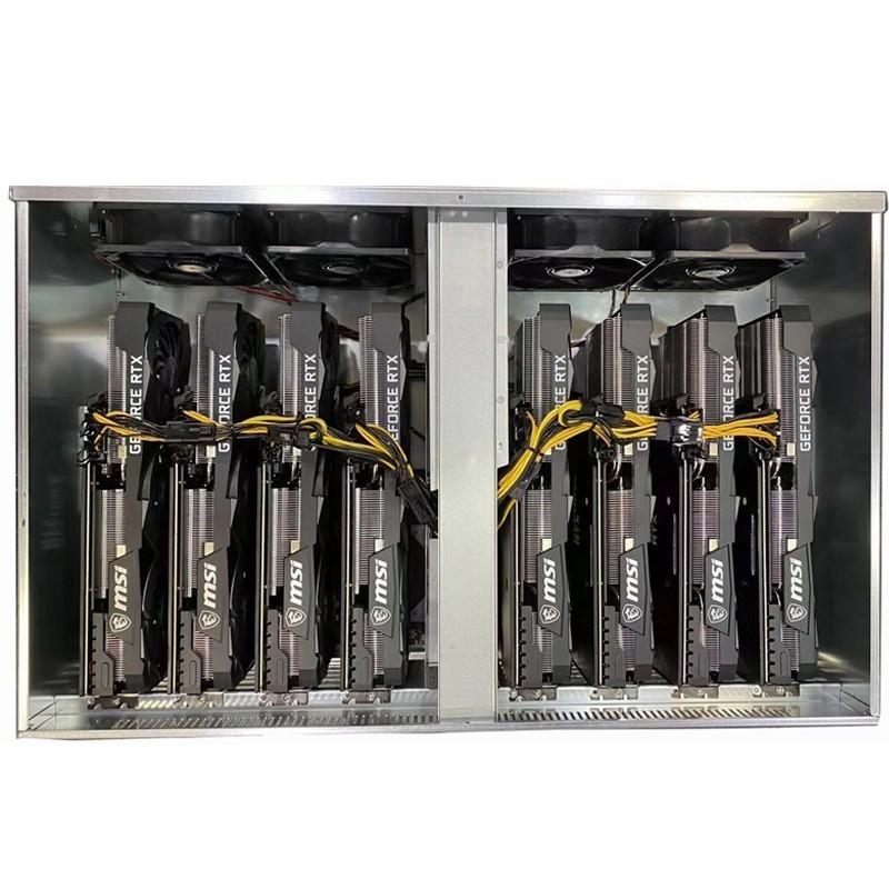 -現貨 比特幣 以太幣 挖礦 多顯卡機箱#新8卡67MM3060Ti/588/1660S機箱平臺直插式主板準系統