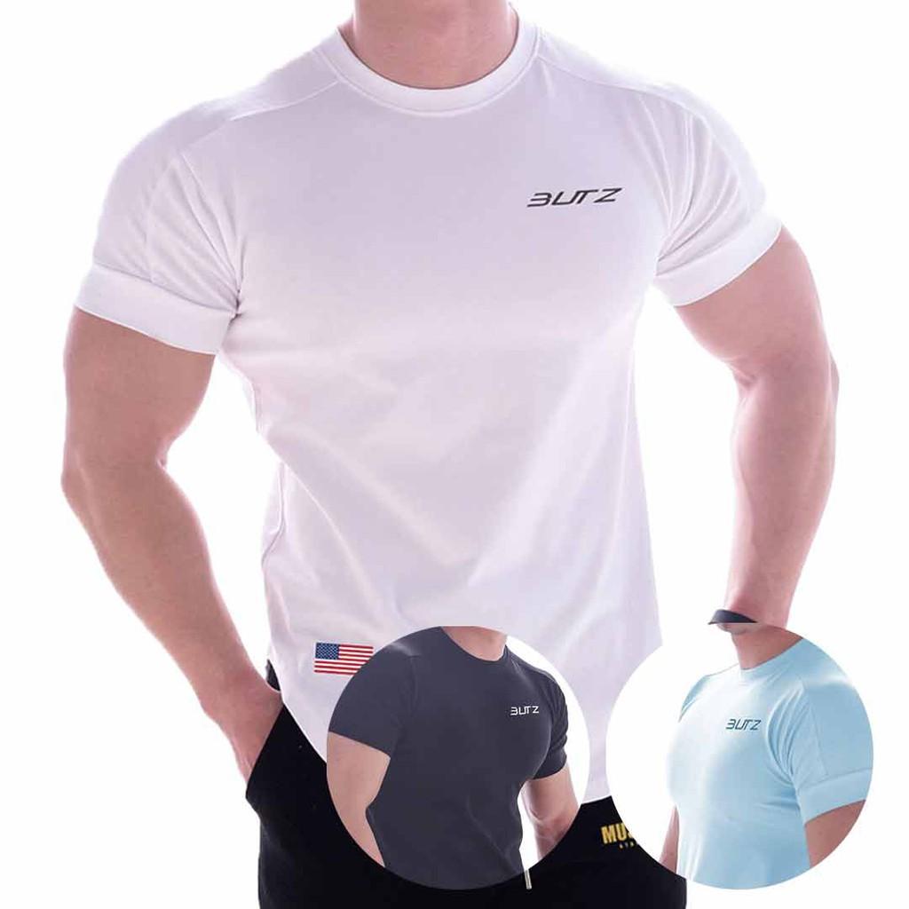 BUTZ 美國徽章拼接運動T恤 短袖 運動 健身 慢跑 重量訓練 【ONESTYLE】
