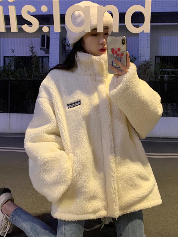 【韓版女生冬季棉衣棉服外套】羊羔毛外套女秋冬百搭棉服2020年新款ins加絨加厚兩面穿棉衣