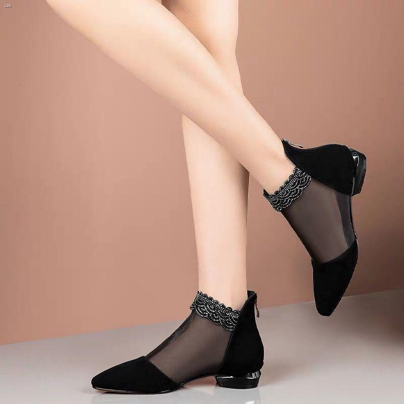 ☂水鉆網紗女鞋鏤空平底涼鞋女2021新款春夏時尚網靴女單鞋粗跟涼靴