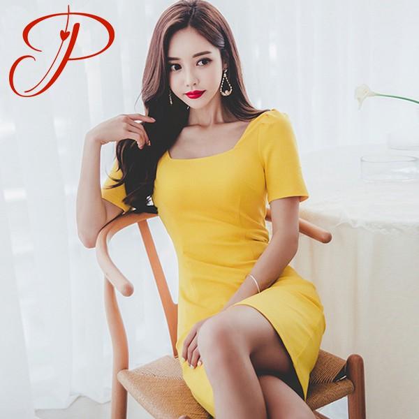 洋裝【S-XL現貨】正韓洋裝專櫃品質 實拍 夏新款 韓版時尚 氣質顯瘦 性感 亮色 包臀 打底連衣裙